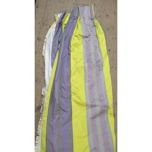 39 - Pair of  good quality silk curtains with pleated headings in striped mauve, yellow and grey, fully l...