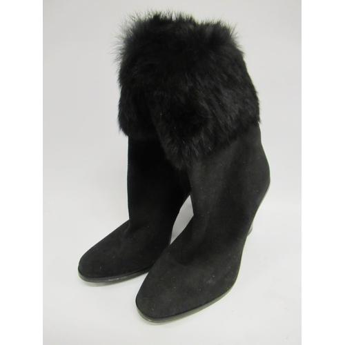 41 - Pair of Via Spiga black suede  ladies fur trimmed boots with zip fastening, 4inch heals, size 39.5