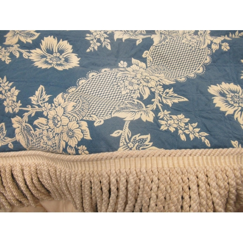 43 - Pair of large blue and gold damask circular table or bed covers, 72ins diameter approximately togeth...