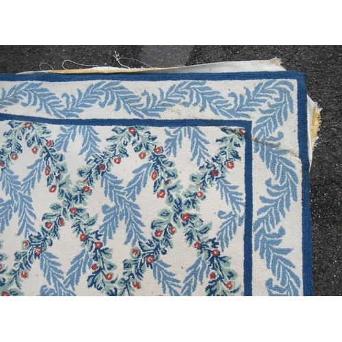9 - Very large modern Chinese machine woven carpet with an all-over blue floral lattice design on an ivo...