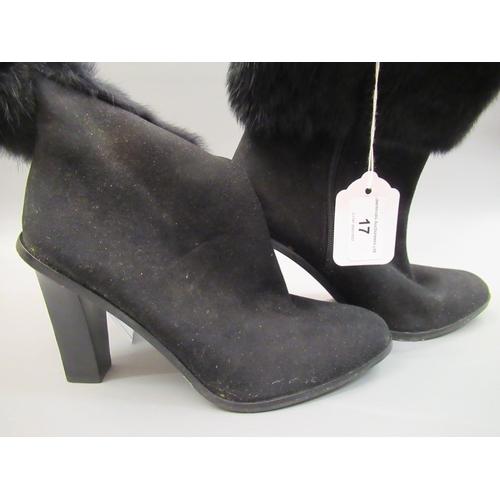 17 - Pair of Via Spiga black suede  ladies fur trimmed boots with zip fastening, 4inch heals, size 39.5