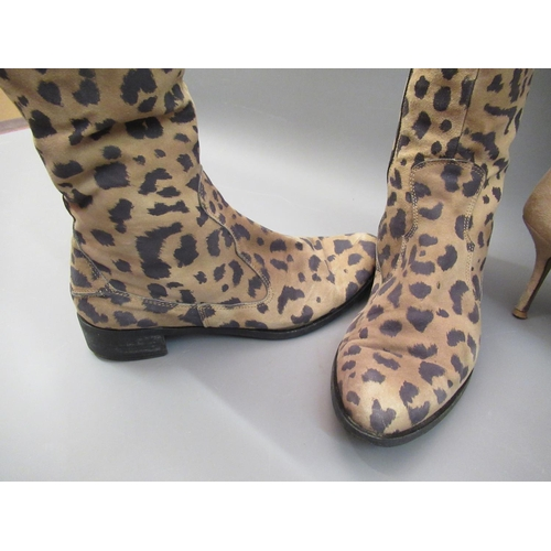 18 - Pair of Russell & Bromley leopard print suede ladies knee high boots, 1in block heels, size 38.5 tog...