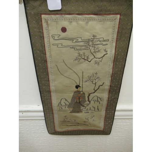 19 - Chinese silk needlework picture depicting children in a garden scene with pagoda, 26ins x 12ins and ...