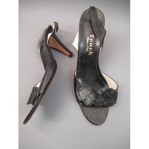 41 - Five pairs of Italian leather high heeled sandals and two pairs of Italian leather high heeled shoes...