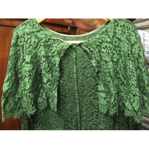 48 - Ladies green dress by Dorville at Michael Geary, London, a Theo sequin and pearl embellished waistco...