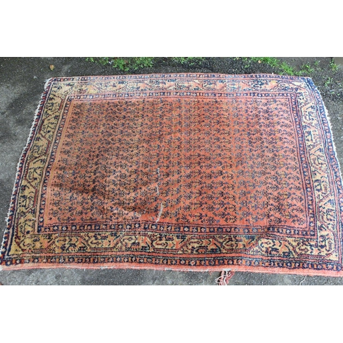 5 - Pakistan Turkoman pattern rug, approximately 60ins x 36ins (at fault) together with a Serabend rug, ...