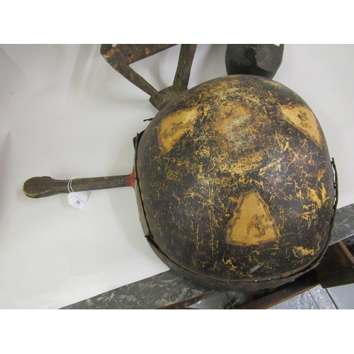 50 - African skin covered and shell mounted musical instrument, native carved wooden headdress and a pot ...