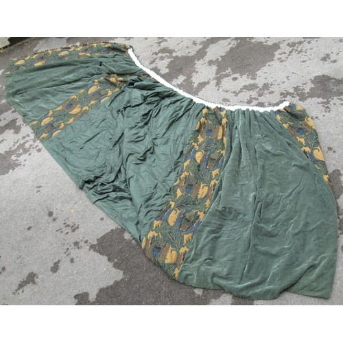 27 - Large Art Nouveau design single curtain, approximately 12ft x 7ft, together with a matching pelmet...