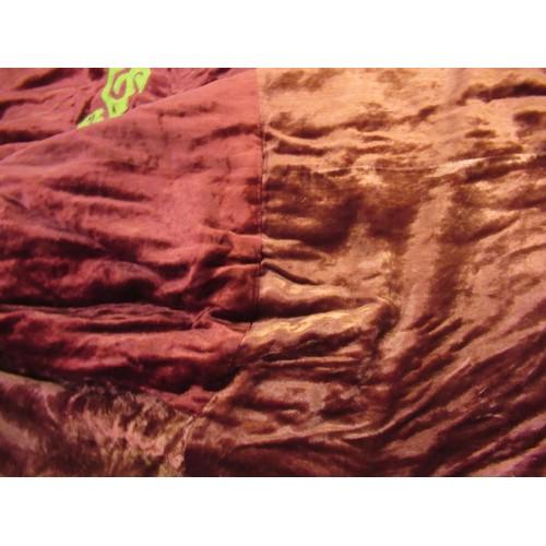 26 - Large vintage velvet bedcover, approximately 9ft square...
