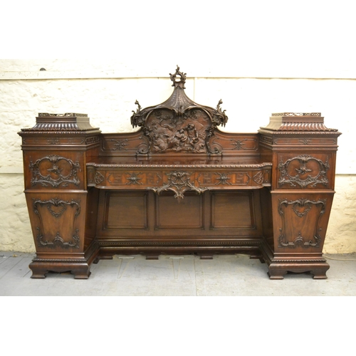 1678 - Fine 19th Century mahogany twin pedestal sideboard of Chippendale revival form, circa 1880, the orna...
