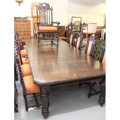 1679 - Set of ten (eight plus two) 19th Century carved oak dining chairs with padded backs and overstuffed ...