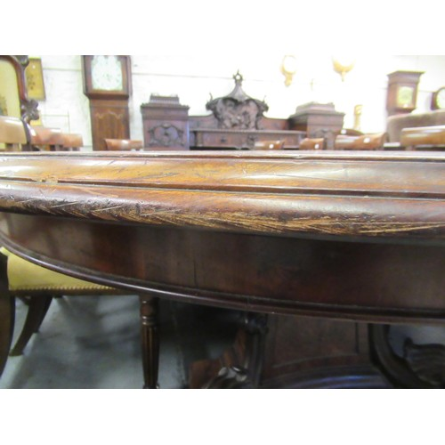 1653 - Early Victorian Samuel Hawkins patent circular extending dining table, the centre square tapering ca...
