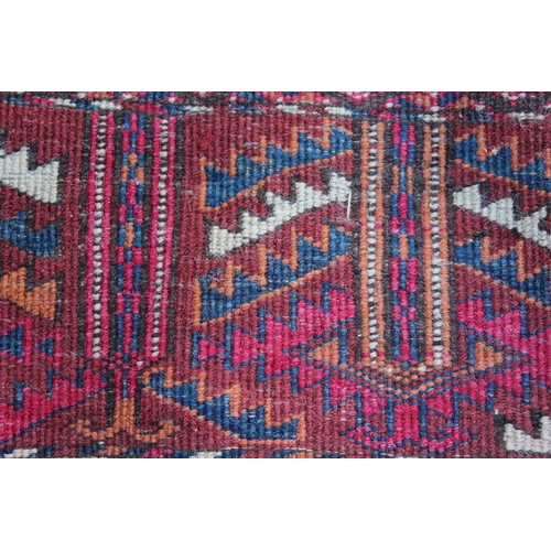 20 - Small Afghan Ersari prayer rug with a wine red ground, 4ft 6ins x 3ft approximately (some wear)