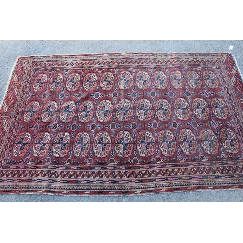 21 - Small Turkoman rug with three rows of eleven gols, on a wine red ground with borders, 6ft x 3ft 10in...