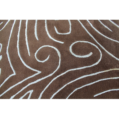 3 - Modern chocolate brown and duck egg blue rug