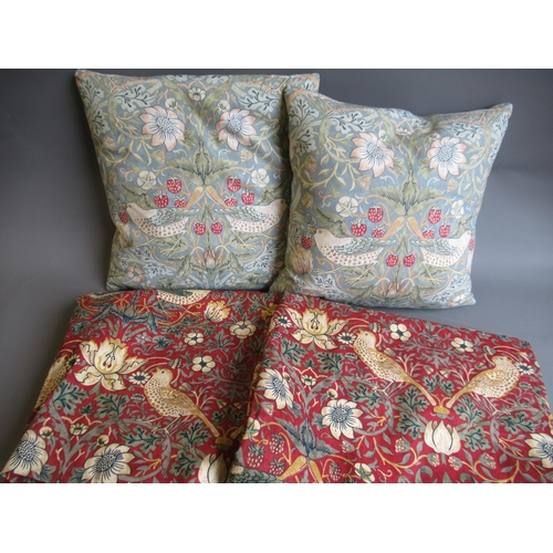 38 - Pair of Strawberry Thief curtains, 54ins x 66ins, together with two matching cushions