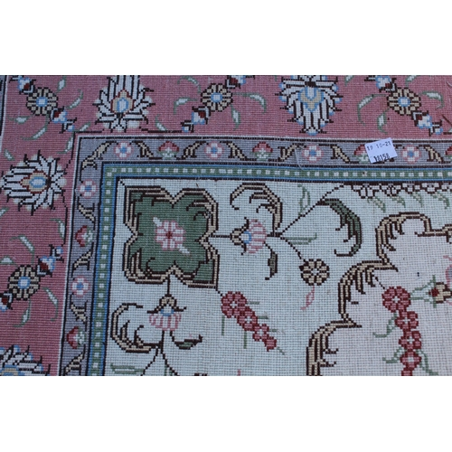 4 - Small Indo Persian rug with lobed medallion and plain design with borders, 5ft x 3ft approximately