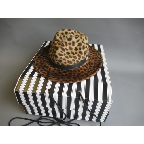44 - Walter Wright ' The London ' wide brimmed leopard fur felt fedora hat, complete with original packag...