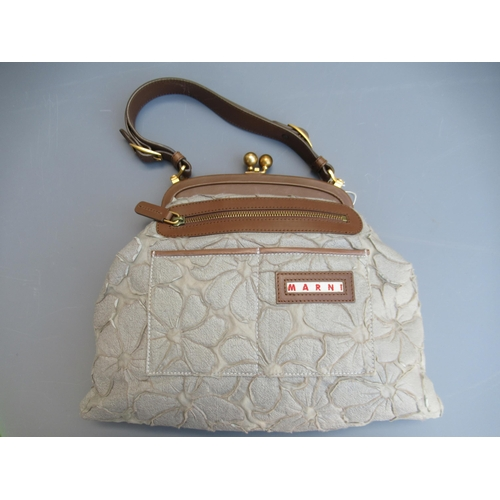 46 - Marni grey floral applique handbag, complete with original tag and dust cover