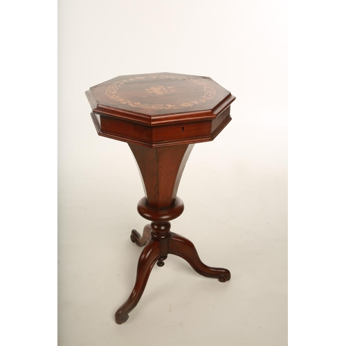 18 - A mid Victorian Rosewood hexagonal sewing table; the hinged lid opening to reveal fitted interior; r...