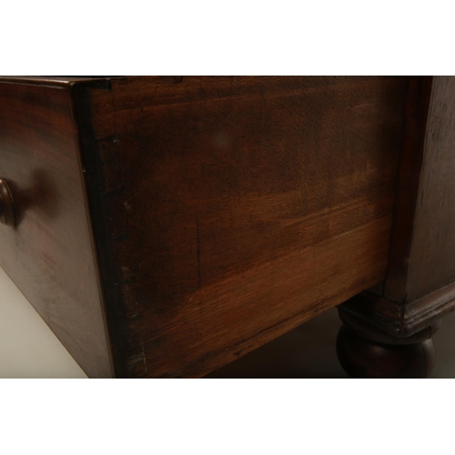 20 - A George III mahogany chest of two short over three long drawers; raised on four feet; 109cm wide