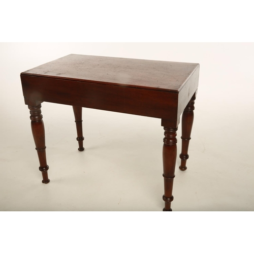 21 - A Victorian mahogany bidet of traditional form raised on turned supports terminating on tapering cir...