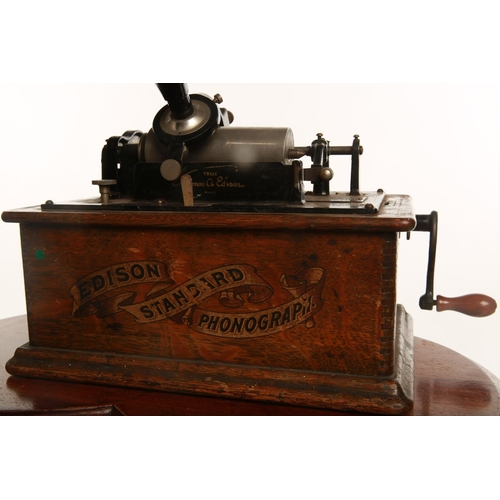 29 - An early 20th century Edison No. 2 phonograph; complete with winding handle and sound horn; 31cm hig...