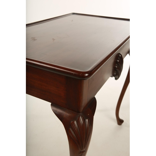 30 - A George II design Irish mahogany silver table, with plain plank top; the corners with applied scall...