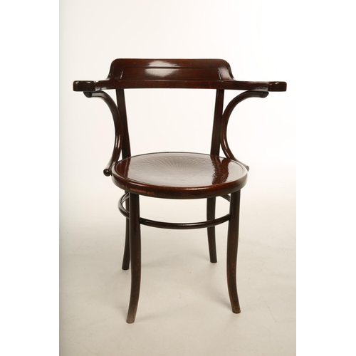 39 - A 1930s Thonet Bentwood open arm desk chair; raised on outswept supports; 80cm high