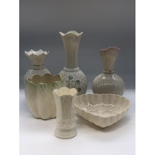44 - Six pieces of assorted Belleek porcelain to include vases, jugs and bowls
