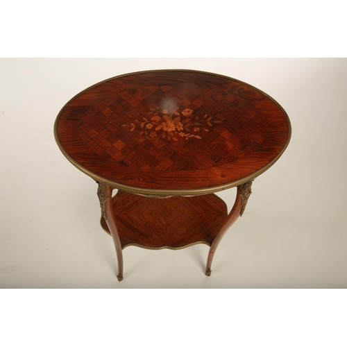 49 - A late 19th century French Kingwood two tier occasional table in the manner of Linke; with applied g...