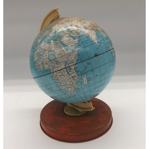 54 - A mid 20th century painted tin plate globe; raised on domed circular foot; 19cm high