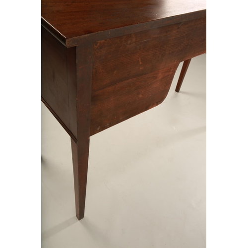 6 - A Georgian style bow fronted sideboard; the central drawer flanked by two pairs of smaller drawers e...