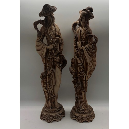 55 - A 20th century pair of composition Chinese figures of a standing man and a women; tallest 49cm high
