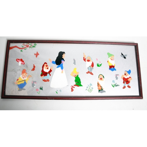 56 - An early / mid 20th century possibly Prisoner painting on  glass depicting Snow White and the Seven ...