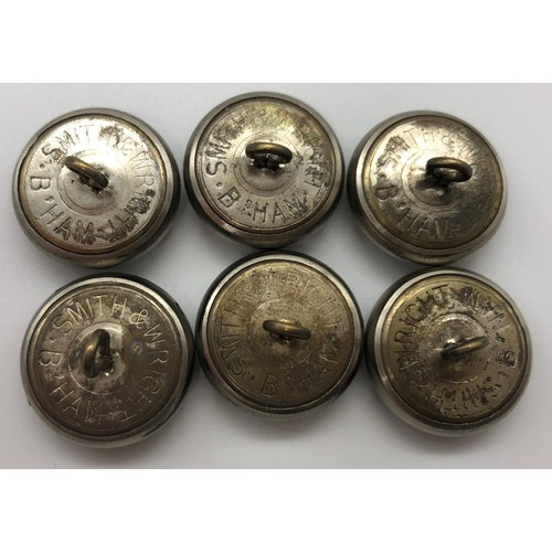 26 - A set of six Royal Ulster Constabulary tunic buttons; 20mm diameter; manufactured by Smith & Wright,...