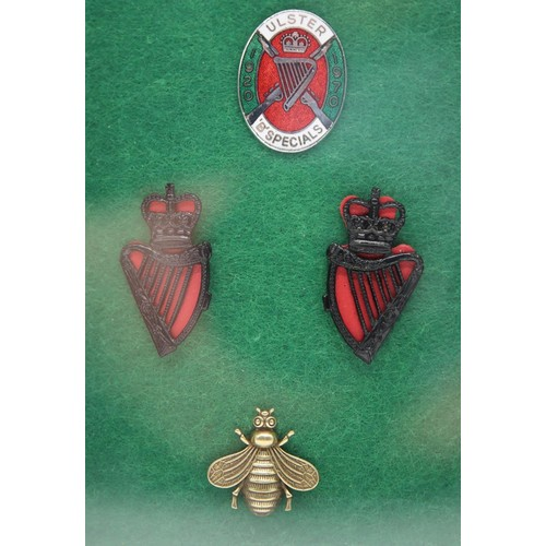 38 - A framed set of four badges to include a pair of Royal Ulster Constabulary King's Crown Collar badge...