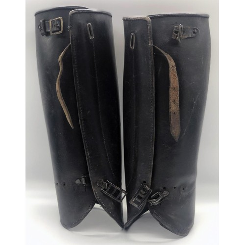 46 - A pair of early 20th century black leather Police Officer's gaitors; Not official police issue but w...