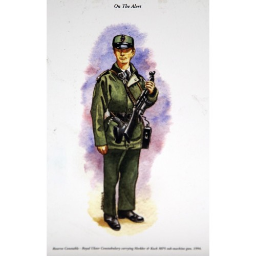 54 - A Royal Ulster Constabulary slate plaque with applied tunic button; four coloured prints of officers...