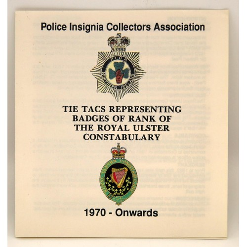 55 - A 1970 Royal Ulster Constabulary rank pin badge set; each badge 24mm long