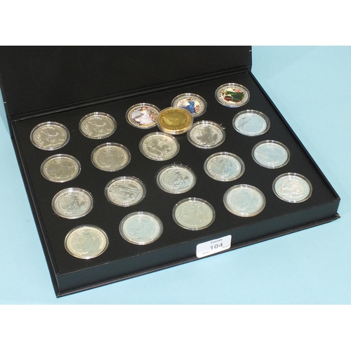 104 - A collection of thirteen Queen Elizabeth II one-ounce fine silver £2 Britannia (standing) coins, 199...