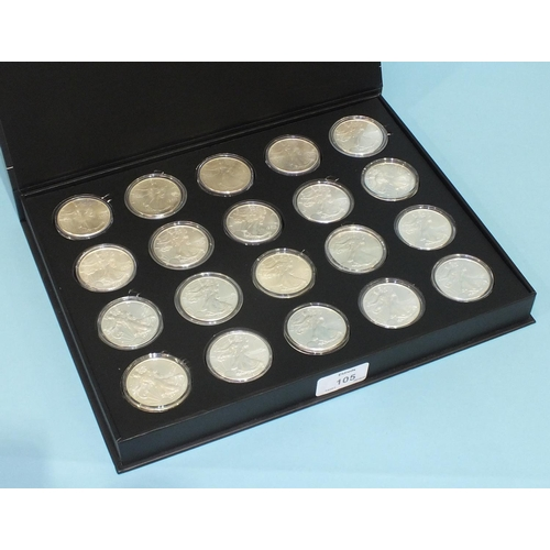 105 - A collection of twenty USA American Eagle silver dollars, 1986-2019, some duplicates, in capsules an...