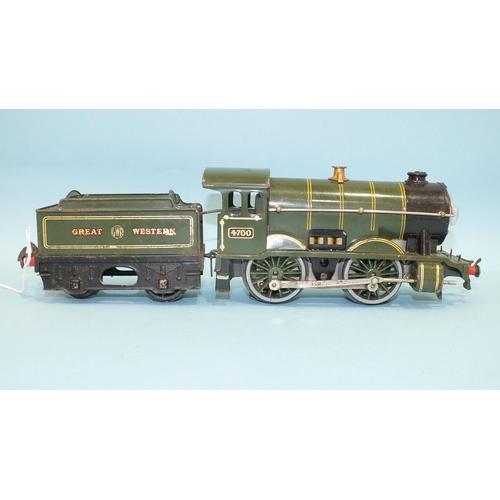 Hornby O gauge, a pre-war GWR 0-4-0 E120 No.1 Special Tender Locomotive no.4700, 20 volt electric, bulb to smoke box, (one tender wheel missing).