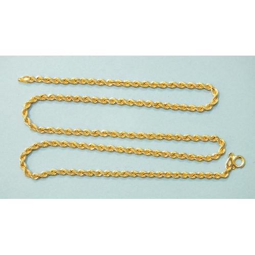 320 - A 9ct gold rope-link neck chain, 51cm, 4.5g.