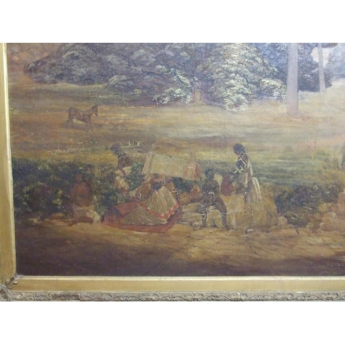 512 - Mansfield Parkyns (1823-1894) AXUM, ABYSSINIA, FIGURES AND DONKEYS IN A LANDSCAPE WITH TREES AND HIL...