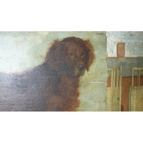 516 - Leghe (John Lees) Suthers (1856-1924) A GOLDEN RETRIEVER STANDING IN A COURTYARD WITH GAME AND A HAM...