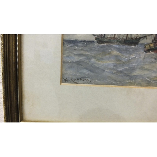 525 - William Cannon (Fl. 1860-1901) A STEAM TUG AND SAILING SHIPS OFF A HARBOUR Signed watercolour, 14 x ...