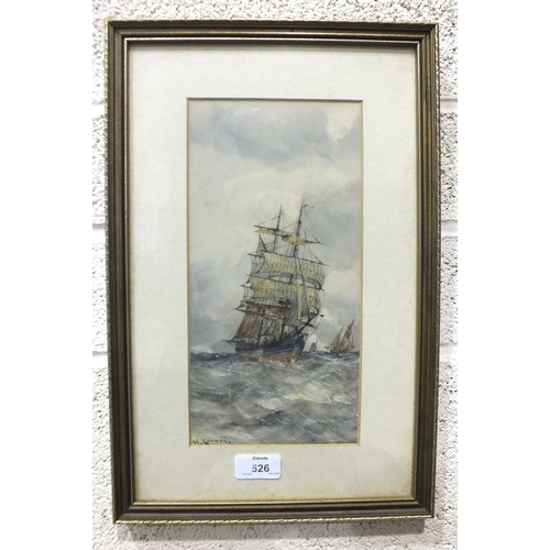 526 - William Cannon (Fl. 1860-1901) SAILING SHIPS IN FULL SAIL Signed watercolour, 29 x 14cm and a compan...