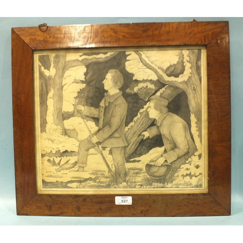 527 - R H Nancarrow PIGEON SHOOTING Signed pencil drawing dated June 1855, 32 x 38cm, in satinwood frame.