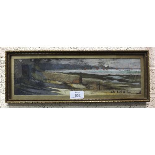 532 - •Leslie F Belton (1912-1992) THE LIFEBOAT STATION, BEMBRIDGE Signed pastel, dated '70, 10 x 35cm and...